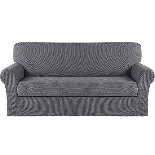 Turquoize Stretch Sofa Cover Sofa Slipcover Couch Cover for 3 Cushion Couch Pet Protector Furniture Covers (Base Cover Plus Seat Cover) Jacquard Fabric with Elastic Bottom (Large, Charcoal Gray)