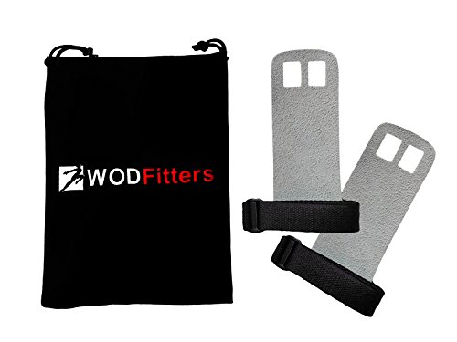 WODFitters Textured Leather Hand Grips for Cross Training, Kettlebells, Powerlifting, Chin Ups, Pull Ups, WODs & Gymnastics - with Grips Storage Pouch (Grey, Small - Fits up to 4')