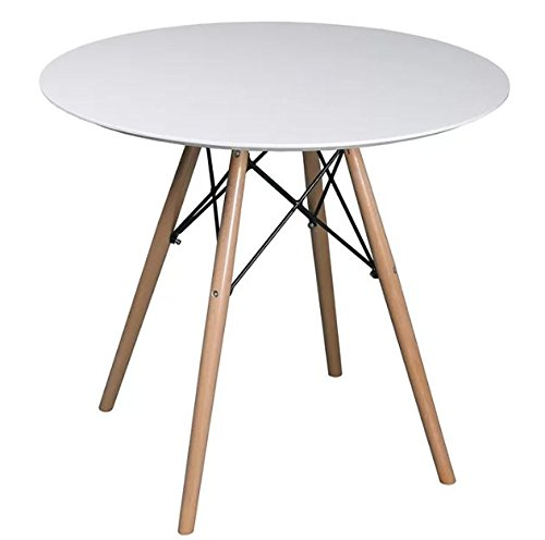 Stylish 'n' Versatile 4 Seater Round Dining Table - Features Eiffel Style Frame, Golden Wooden Legs, And Thick Tabletop Surface - Sleek White Finished Top