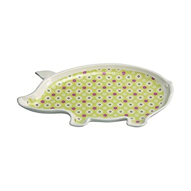 Transpac Dolomite Printed Pig Platter, Multicolor