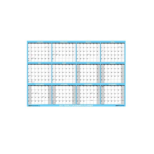 US 2021 Erasable Horizontal and Vertical Display Calendar Size 90 * 60cm Blue