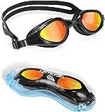 Kemladio Gafas de Natación, Gafas para Nadar Antiniebla Protección UV Sin Fugas Profesional Espejo Impermeable Ajustable Silicona para Adultos Hombres Y Mujeres (Negro02)