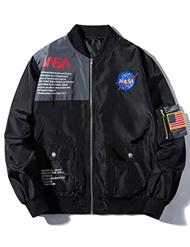 Mens Biker Zipper Flight Military Black NASA Jacket