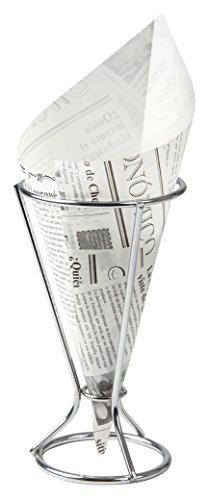 Fackelmann 49345 Support pour Cornet à frites Métal/Papier Argent/Noir/Blanc 25 x 18 x 9 cm