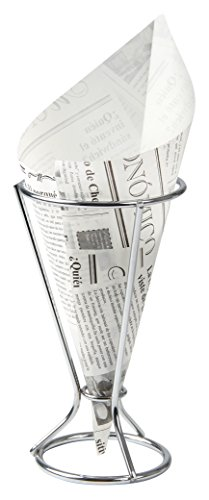 Fackelmann Fingerfoodhalter mit Spitztüten, Pommeshalter inklusive 5 fettabweisenden Papiertüten, Snackständer mit Tüten im Zeitungsdesign (Farbe: Silber, Weiß/Schwarz), Menge: 1 x Halter, 5 x Tüten