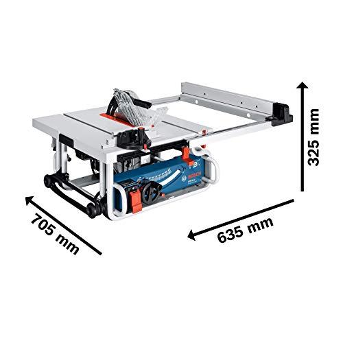 Bosch Professional GTS 10 J, 254 mm Sägeblattdurchmesser, 642 x 572 mm Tischgröße, Absaugadapter, Schiebestock, Sägeblatt, Winkelanschlag, Parallelanschlag - 4