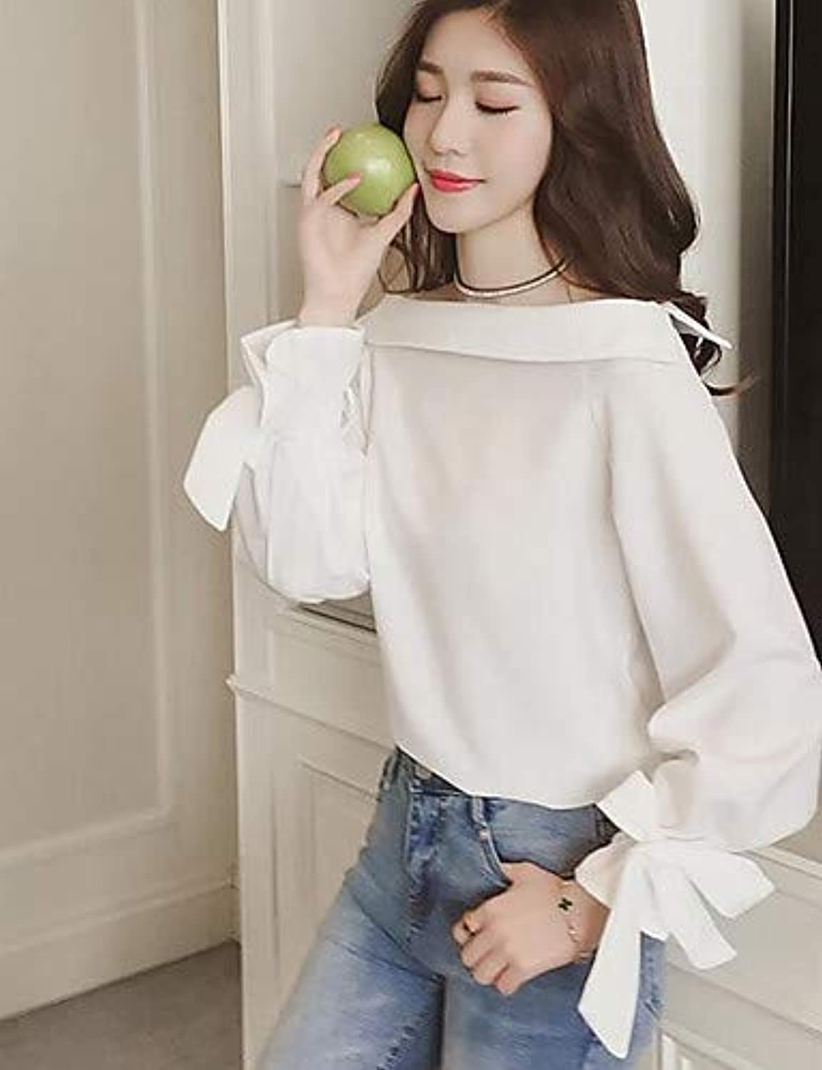Women's Blouse  Solid colord Crew Neck