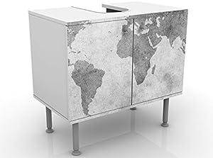 Apalis Design Vanity Vintage Worldmap II 60x 55x 35cm, Piccolo, Largo 60cm, Regolabile, lavandino, lavabo, Rubinetto per lavabo da Bagno, Armadio, unità di Base, Bagno, Narrow, Flat