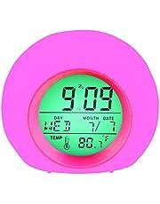 YUES Reloj Despertador Digital para niños,LED Reloj Alarma con 7 Colores Cambio de luz con Calendario y Termómetro,Control táctil Junto a la Cama,Rosado