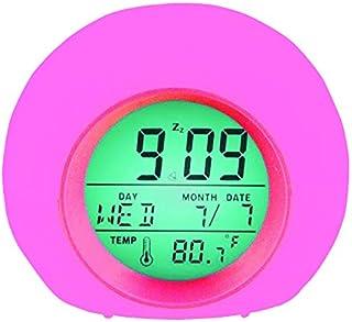 YUES Reloj Despertador Digital para niños, LED Reloj Alarma con 7 Colores Cambio de luz con Calendario y Termómetro, Control táctil Junto a la Cama,Rosado