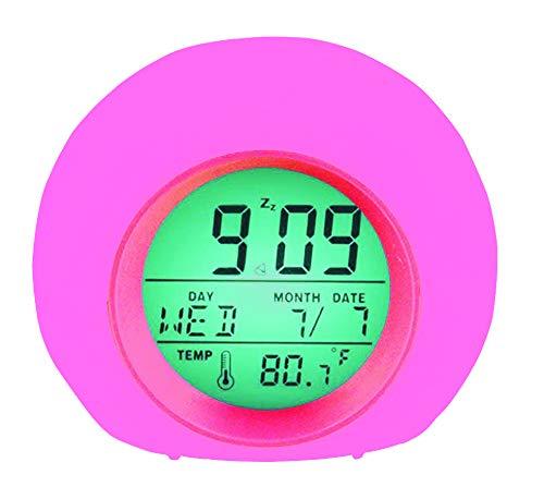 YUES Sveglia Digitale,Allarme LED Sveglia,Wake-up Light per Bambini con 7 Colori,Intelligente Suoni Naturali con Tempo 12 24 Ore,Data,Temperatura,Snooze,Rosa