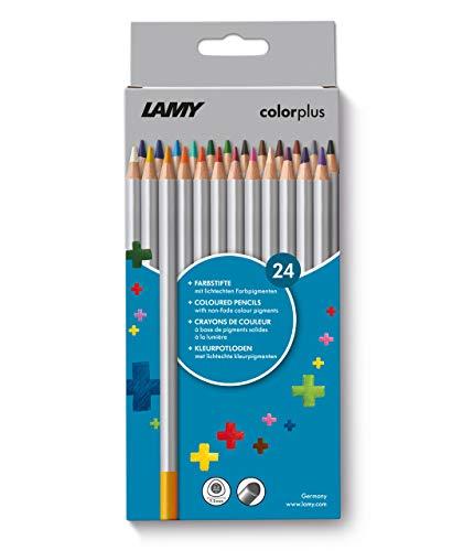 LAMY colorplus Farbstifte 506 24er-Set: Faltschachtel mit 24 Farbstiften aus massivem Lindenholz mit ergonomischer Dreieckform – Dicke Mine Ø 3,3 mm, Farbstift Ø 7,2 mm