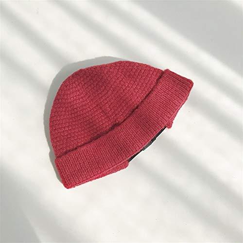 HaiNing Zheng Paar herfst en winter dagen warme wol hoed vrouwelijke korte paragraaf gesp mannelijke verhuurder hoed gebreide muts Koreaanse meloenen koude cap tij Adjustable Wijn Rood