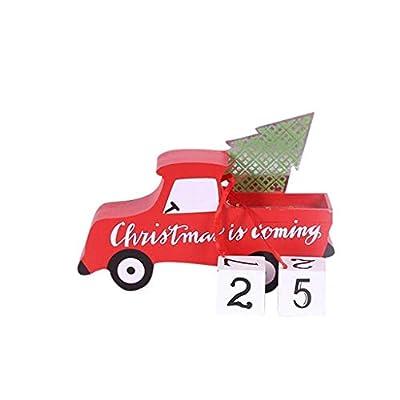 Iusun Wooden Car Calendar Tabletop Christmas Decorations Festive DIY Ornaments Bedroom Decor for Home Office Desk