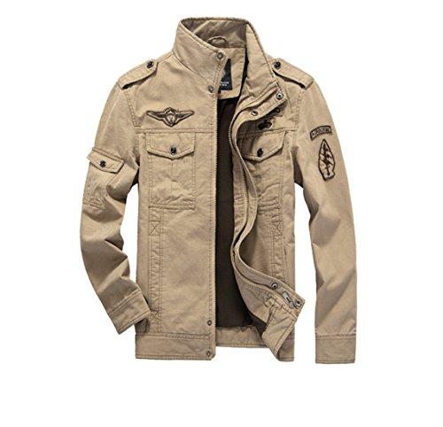 Merciy Herren Frühling Herbst Winter Baumwolle Jacke, Khaki, XXL (Herstellergröße: 5XL)
