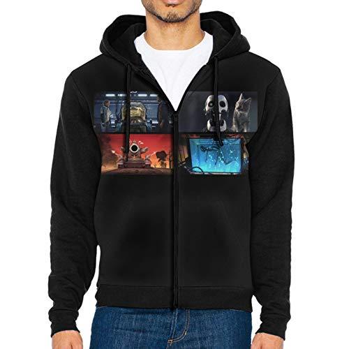 LWJKI Classic Love,Death&Robots Wallpaper Sweatshirt with Zipper for Mans Black Large