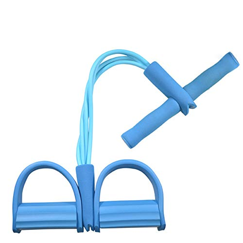 ShineBlue Pedal Resistance Band 4 Tube Natural Latex Sit up Bodybuilding Auxiliary Equipment Elastic Pull Rope with Foot Pedal Fitness Equipment for Abdomen Leg Arm Stretching Training Blue