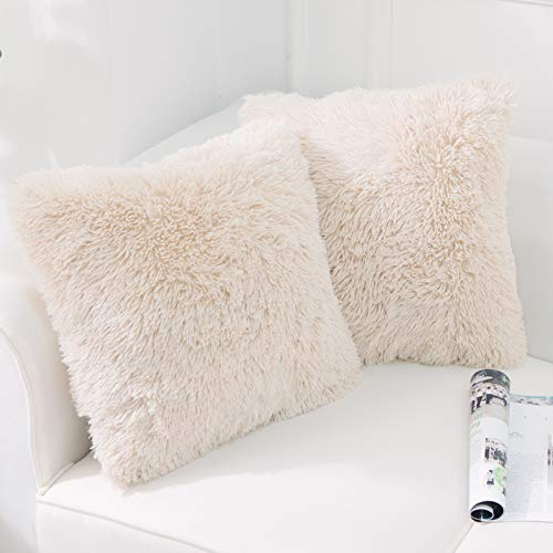 "NordECO HOME Luxury Soft Faux Fur Fleece Cushion Cover Pillowcase Decorative Throw Pillows Covers, No Pillow Insert, 18"" x 18"" Inch, Beige, 2 Pack"