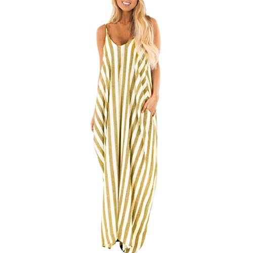 Binggong Kleid Damen Streifen V-Ausschnitt Träger Sommerkleider Strandkleid Elegant Boho Still Maxikleider Frauen Lässige ärmellos Spaghettiträger Swing-Kleid Freizeitkleid