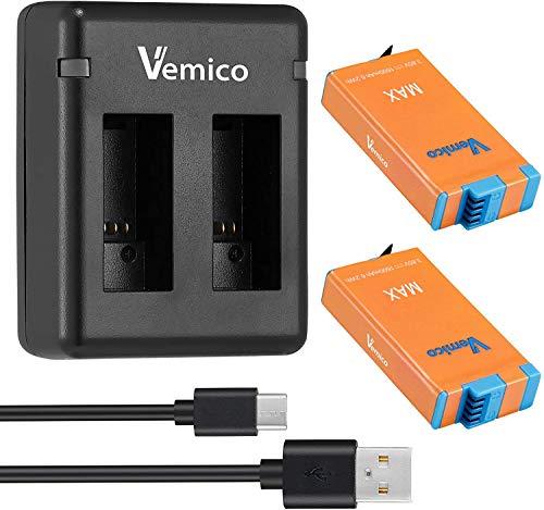 Vemico Batería de repuesto para GoPro Max 2X1600mAh Batería 2 canales Micro USB Type-C LED Cargador para GoPro Max (Totalmente Compatible)
