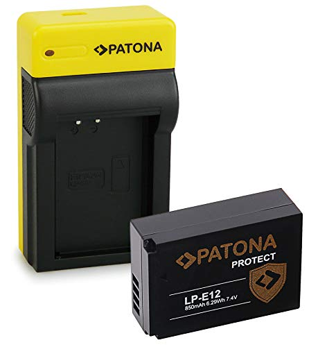 PATONA Estrecho Cargador con Protect Bateria LP-E12, NTC, Carcasa V1 Compatible con Canon EOS 100D, EOS M, M2, M10, M50, Rebel SL1
