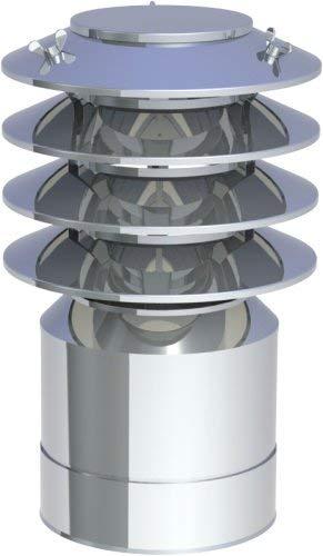 Edelstahlschornstein doppelwandig DN150 Mündungsabschluss Lamellenaufsatz Kamin
