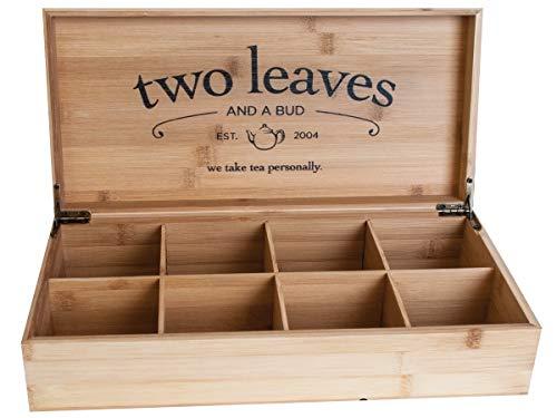 Two Leaves and a Bud Bambus Box | Ideale Kiste für die Aufbewahrung von Tee z.B. Kräutertee Schwarztee Früchtetee Grüntee | Tee Geschenkset | Geschenkbox (8er Bamboo Box (ohne Tee))