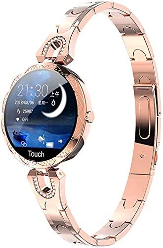 2021 moda mujeres s reloj inteligente impermeable dispositivo portátil monitor de ritmo cardíaco deportes smartwatch para mujeres señoras AK15-oro