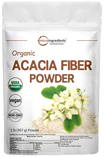Micro Ingredients Organic Acacia Fiber Powder, 2 Pound (32 Ounce), Plant Based Prebiotic Superfood for Gut Health, Non-GMO and Vegan Friendly