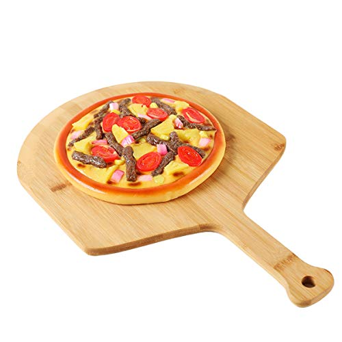 Premium Natural Bamboo Pizza Peel With Handle for Homemade Pizza and Bread Baking Size 17.7'' x 12'' x 0.5''(12inch, BAMBOO)