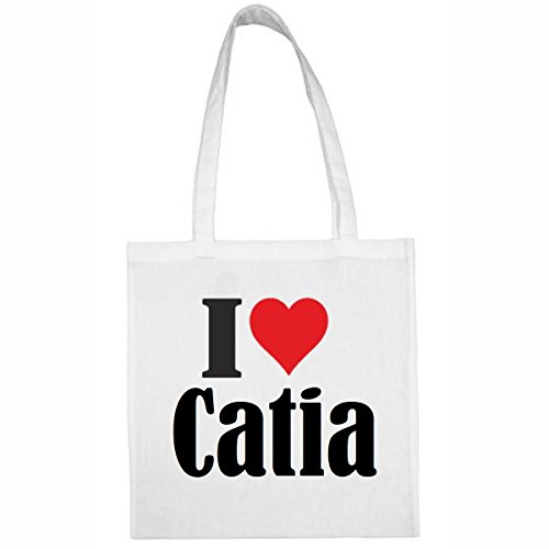 Tasche I Love Catia Größe 38x42 Farbe Weiss Druck Schwarz