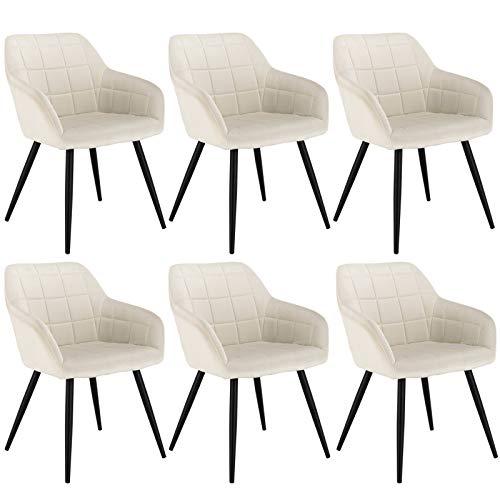 WOLTU 6 x Esszimmerstühle 6er Set Esszimmerstuhl Küchenstuhl Polsterstuhl Design Stuhl mit Armlehne, mit Sitzfläche aus Samt, Gestell aus Metall, Cremeweiß, BH93cm-6