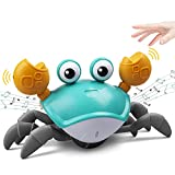 ZONICE Green Crawling Crab Baby Toy with Music and LED Light Up for Kids, Toddler Interactive Learning Development Toy with Automatically Avoid Obstacles, Build in Rechargeable Battery