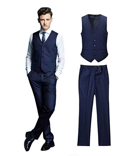 Wehilion Men's Vest Pants 2 Pieces Dress Vest Set V-Neck Slim Fit Suit Waistcoat nv-s Navy