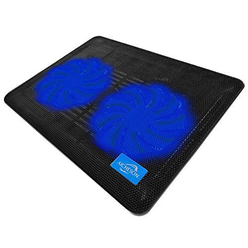 AICHESON Laptop Cooling Pad 2 1000RPM Fans Portable Computer Cooler, Blue LEDs, S007