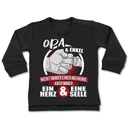 Shirtracer Partner-Look Familie Baby - Opa & Enkel Immer EIN Herz & eine Seele - weiß/rot - 6/12 Monate - Schwarz - Geschenk - BZ31 - Baby Pullover