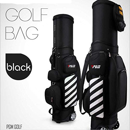 Great Price! MYKUJA PGM Retractable Golf Carry Bag Wheeled Golf Travel Bag Golf Cart Bag Black