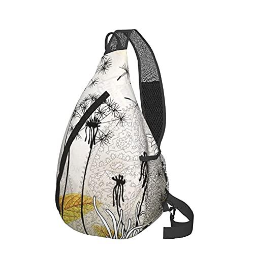 Bandolera bandolera con estampado de diente de león bolsa ligera y resistente al agua, bolsa de hombro unisex para viajes, senderismo, mochila pequeña para mujeres, hombres, regalos para niños
