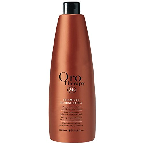 Keratin Shampoo Rubino Puro Oro Therapy 1000ml Fanola ® Coloured & Treated Hair - Cheratinico per Capelli Colorati e Trattati