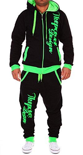 Violento Kinder Jungen Jogginganzug Jogging Hose Jacke Sportanzug Sporthose Fitness Hoodie schwarz/grün XS 164