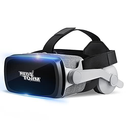 REDSTORM Casque VR, Lunette 3D VR avec Ecouteurs Stéréo Intégré, Casque de Réalité Virtuelle Version 2021, 0-600 Degrés de Myopie avec Yeux Nus, Compatible avec iPhone/Android de 4,7-6,5 inchs(Gris)