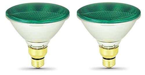 Pack of 2 70Par38/FL/G Halogen 70-Watt, Floodlight, Medium Based (E26), PAR38 Reflector Colored Bulb, Green
