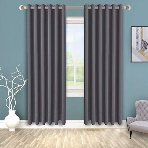 BONZER Grommet Blackout Curtains for Bedroom - Thermal Insulated, Energy Efficient, Noise Reducing and Light Blocking, Room Darkening Curtains for Living Room, Grey, 70 x 72 inch, Set of 2 Panels