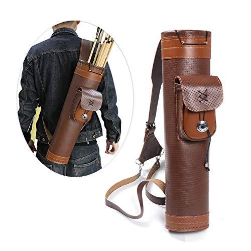 Sac de carquois de flèche à la main pure, carquois traditionnel de style arrière de grande capacité, bretelles réglables, accessoires de chasse de tir sportif, brun pour le support de flèche d'arc