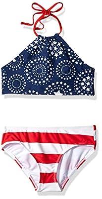 Kanu Surf Girls' Big Mahina Beach Sport Halter Bikini 2-Piece Swimsuit, USA American Flag, 12
