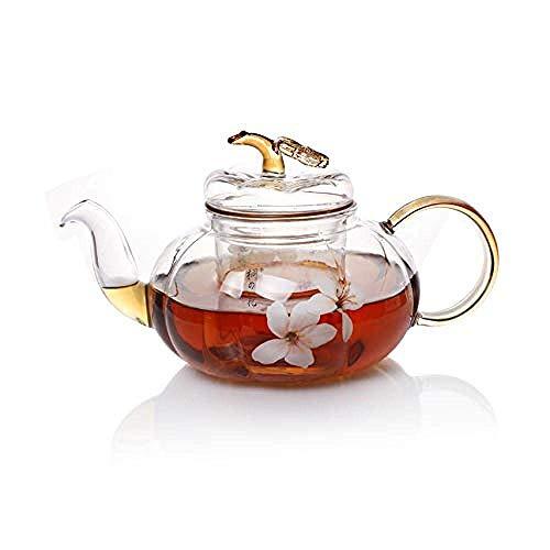 Tetera de hierro fundido, set de tetera, set de tetera, tetera, tetera, vidrio resistente al calor, té con calabaza de Paulownia