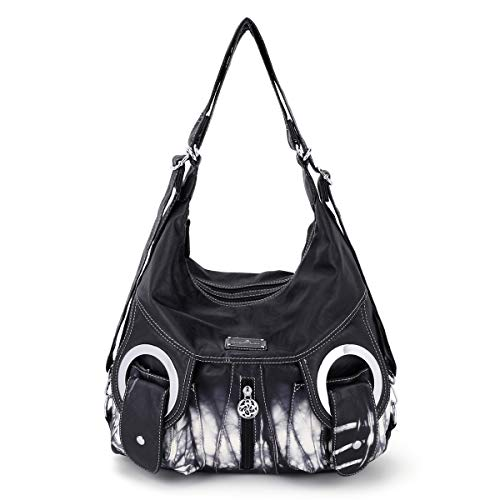 Angel Kiss womens shoulder handbags,Large Waterproof PU Washed Leather Hobo Bags for Women (Black)