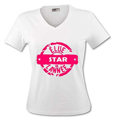 YONACREA - T-Shirt Col V Adulte - Elue Star de l'année - XXL