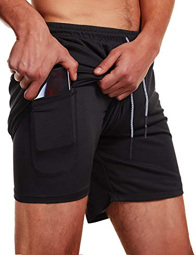 FLYFIREFLY Men's 2-in-1 Workout Running Shorts 7' Lightweight Gym Yoga Training Sport Short Pants Black