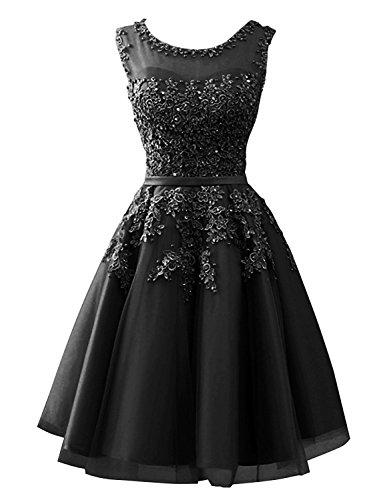 CLLA dress Damen Abendkleider Mit Applikationen Elegant Ballkleid Brautjungfernkleider Kurz Partykleid(schwarz,44)